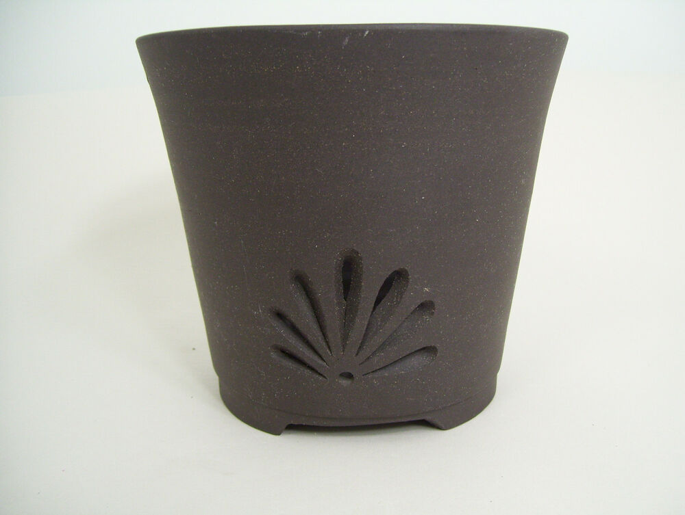 Chocolate Brown clay orchid pot with decorative drainage ...