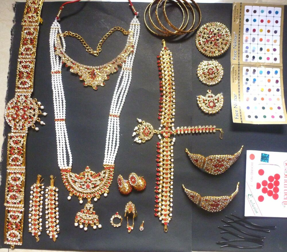 20 pieces temple jewelry stones south indian bridal for Bridesmaid jewelry sets under 20