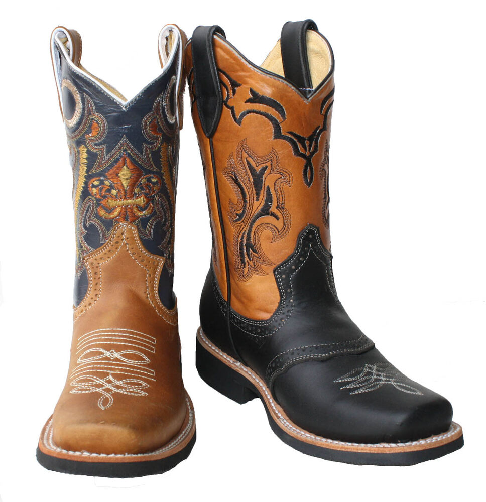 children youth sizes cowboy boots leather square toe rodeo boys