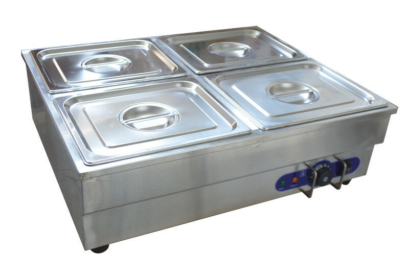 4 pan counter top warmer bain marie buffet steam table for Cuisson four bain marie