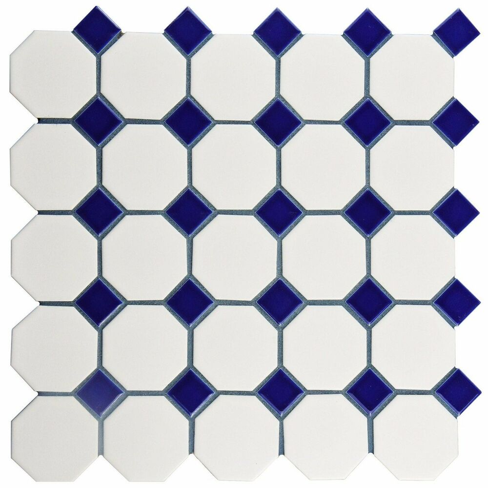 2 Quot Octagon Porcelain Mosaic Tile Matte White With Glossy
