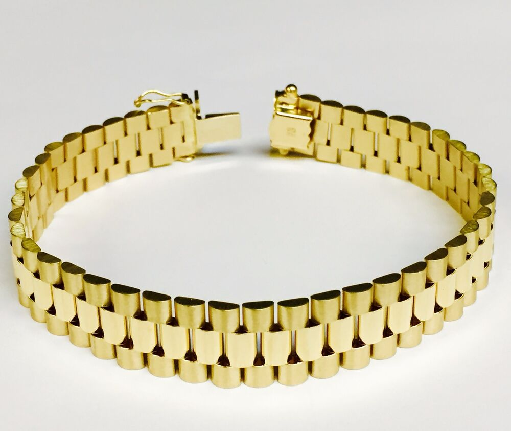 14kt solid Yellow gold RLX Style Link mens bracelet 8.25 ...