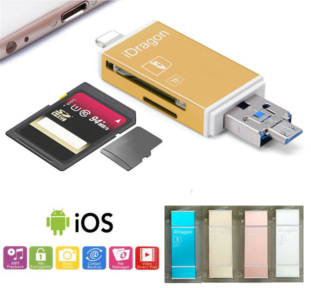 micro usb sd sdhc tf card reader for iphone 7 ipad ios android samsung lg pc ebay. Black Bedroom Furniture Sets. Home Design Ideas