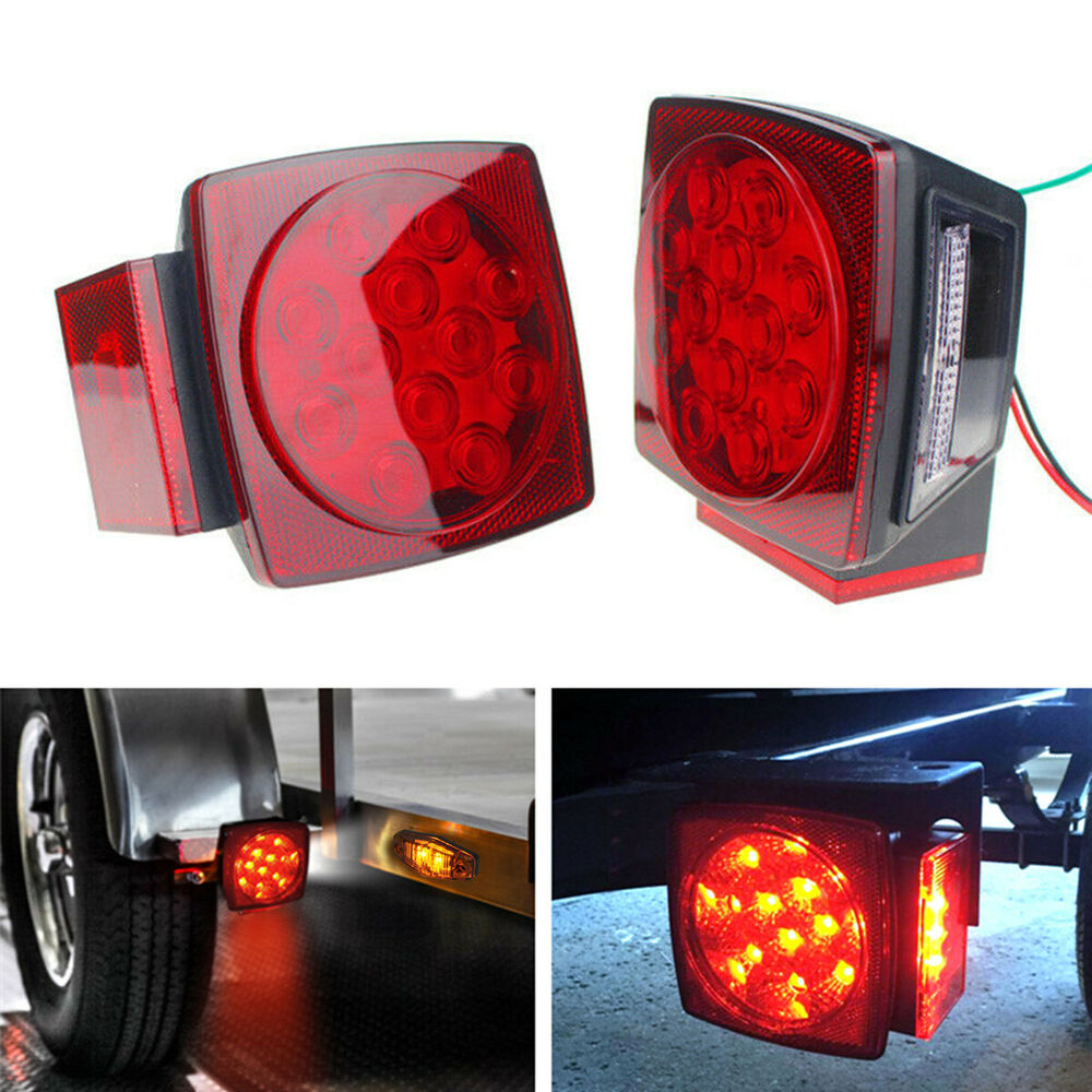 2x Led Submersible Square Trailer Boat Truck Stop Tail