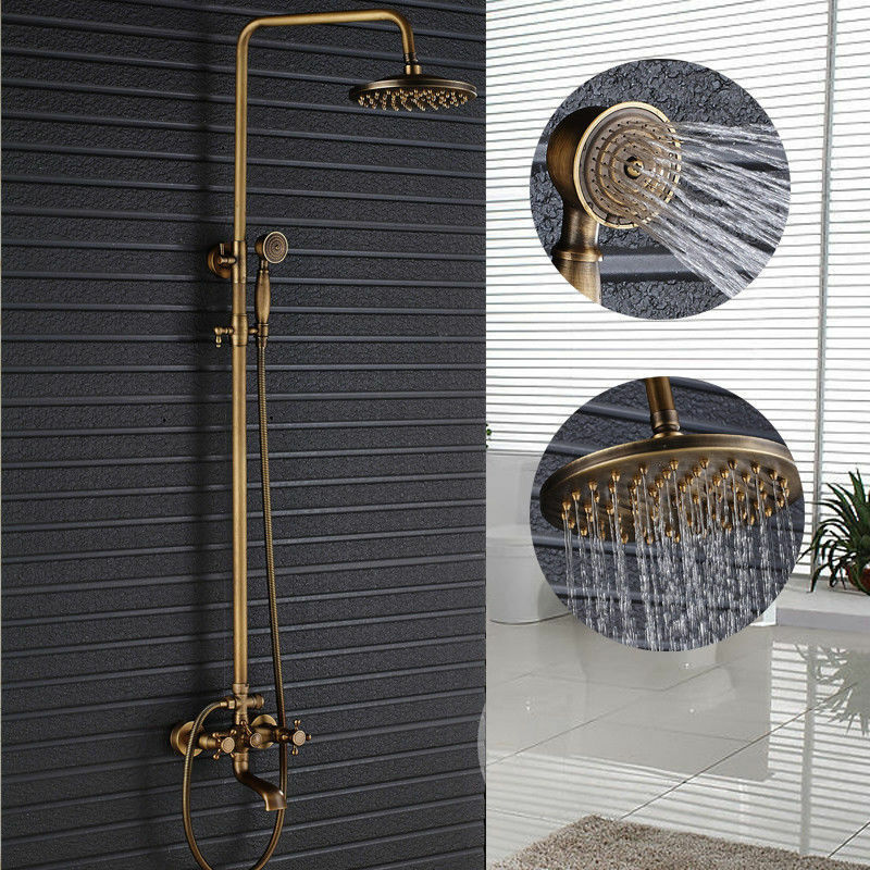 Wall Mounted Antique Brass Bathroom Towel Rack Holder 3 Swivel Bars W Hanger Ebay