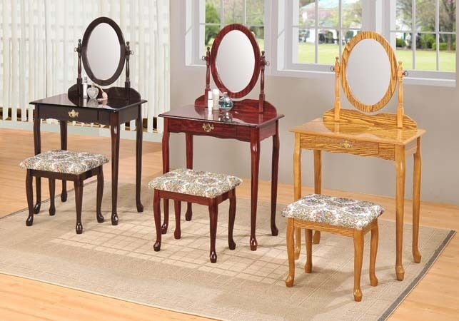 Queen Anne Style Vanity Makeup Table Oval Mirror W Padded Bench Oak Finish Ebay
