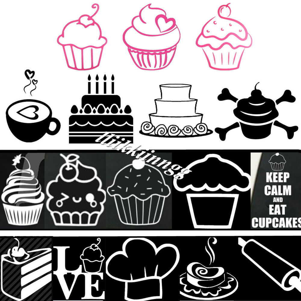 Cherry Cupcake Cakes Ice Cream Sticker Vinyl Decal Car