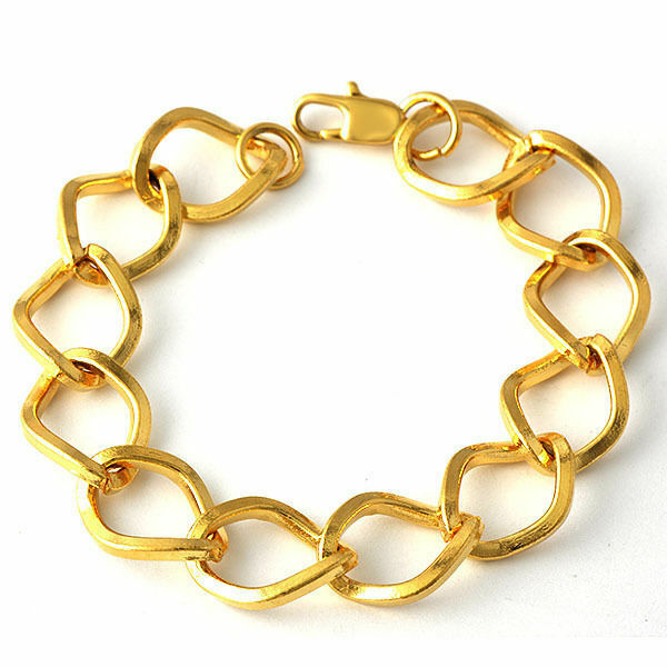Gold Link Bracelet Womens: Simple Wrist Large Oval Womens Mens 9K Yellow Gold Filled