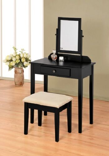 black finish contemporary bedroom vanity set with stool ebay. Black Bedroom Furniture Sets. Home Design Ideas