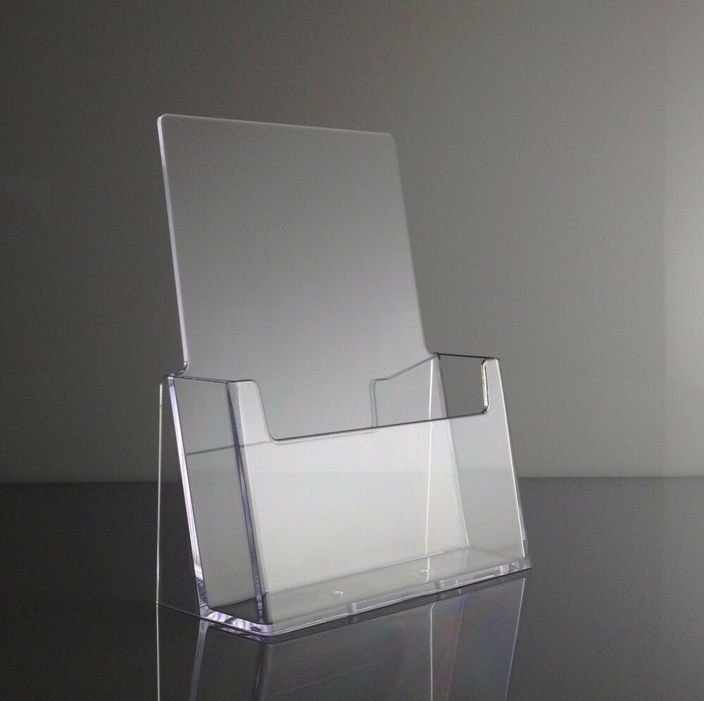 Clear acrylic half page brochure display holder stand for Plastic flyer stand