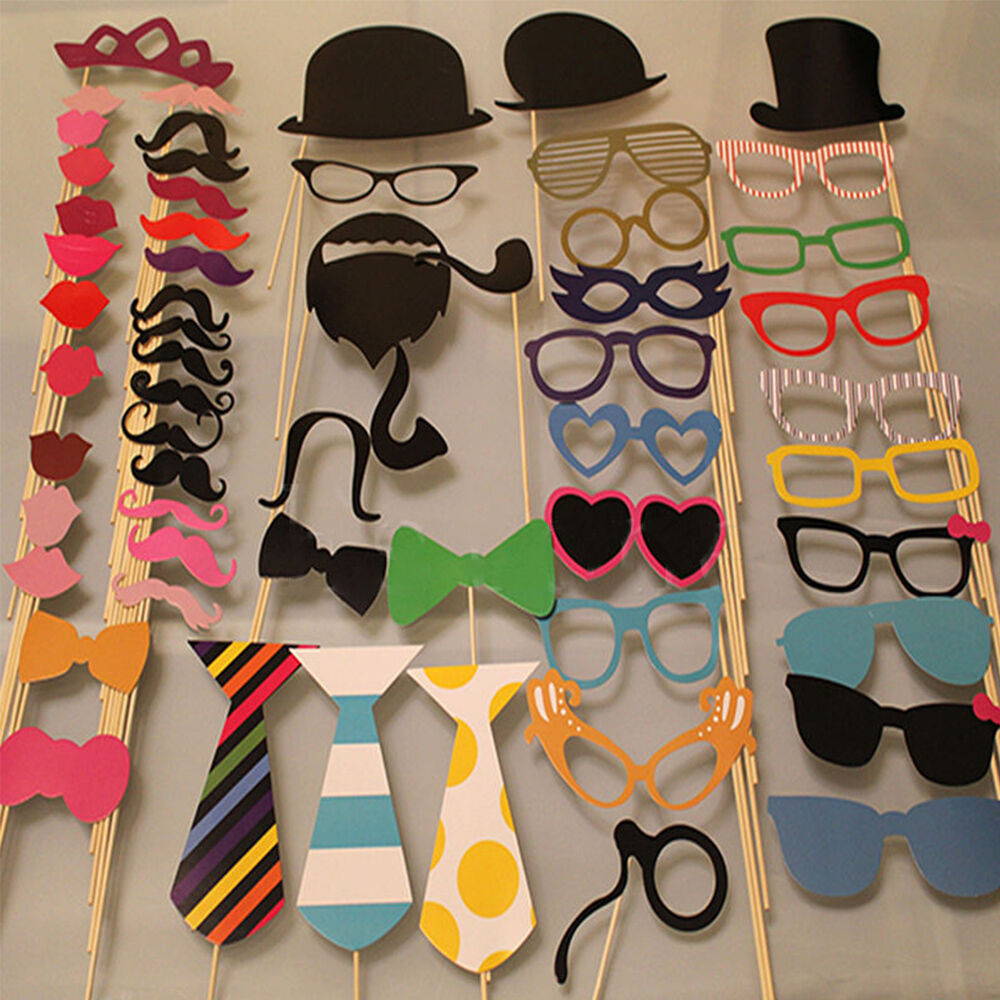 New 58PCS Masks Photo Booth Props Mustache On A Stick