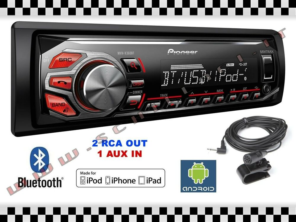 pioneer mvh x370bt autoradio usb bluetooth 2 rca mixtrax garanzia italia ebay. Black Bedroom Furniture Sets. Home Design Ideas