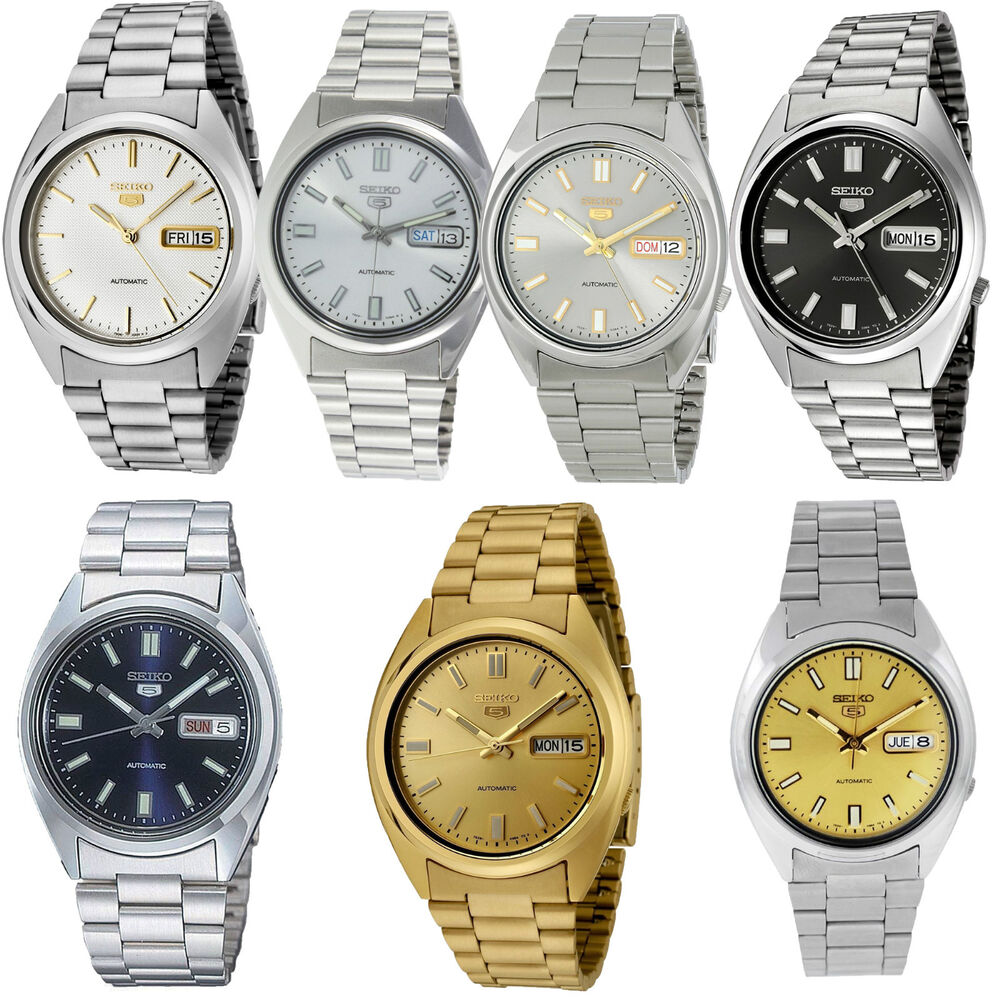 Seiko 5 mens stainless steel bracelet automatic watch rrp 129 ebay for Stainless watches