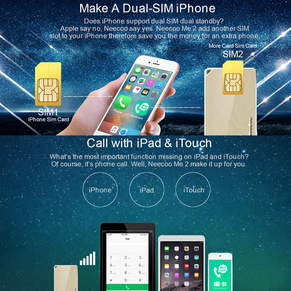 portable neecoo bluetooth 4 0 dual sim card adapter for iphone 6s plus bk ebay. Black Bedroom Furniture Sets. Home Design Ideas