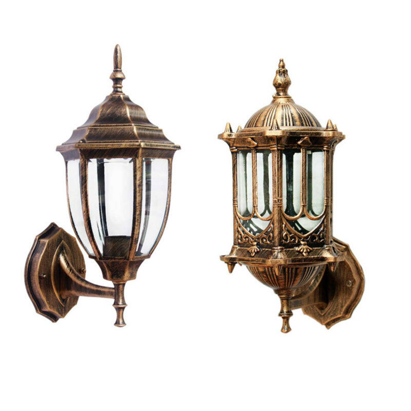 2 type antique brass outdoor exterior wall lantern light for Vintage exterior light fixtures
