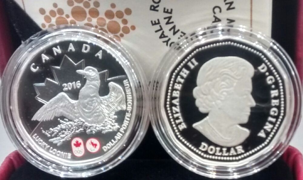 Lucky Loonie 2016 Canada Pure Silver 1 Dollar Coin