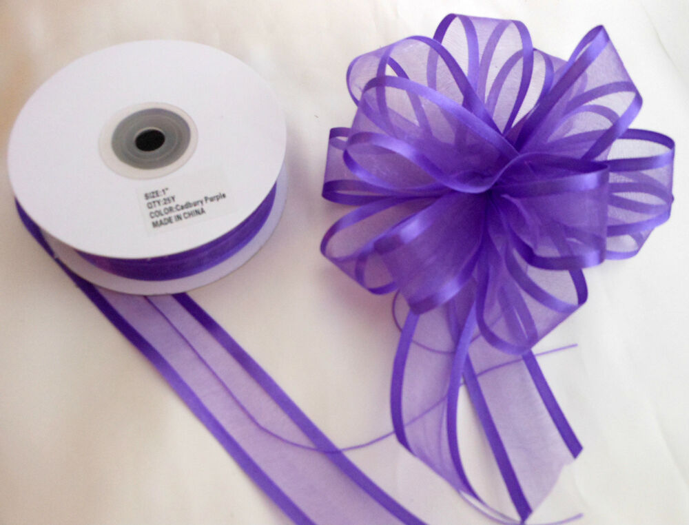 Pull Bow Ribbon Purple Satin Edge Organza 25mm wide  5 10 and 20 Mtrs