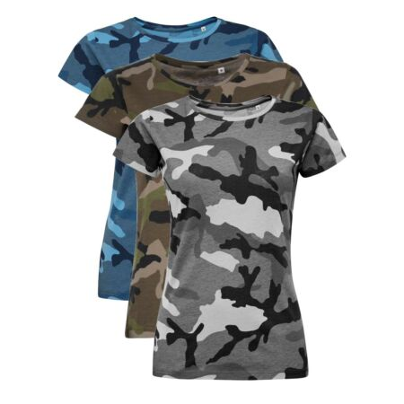 img-Womens Ladies GREY BLUE GREEN Camo T Shirt Military Army Jungle Camouflage Tee