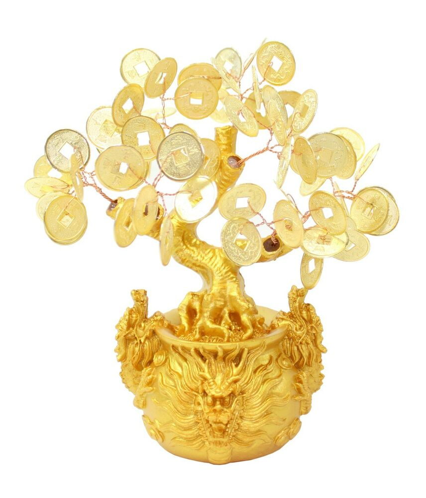 7 feng shui gold money coins tree in dragon pot wealth blessing gift us seller ebay. Black Bedroom Furniture Sets. Home Design Ideas