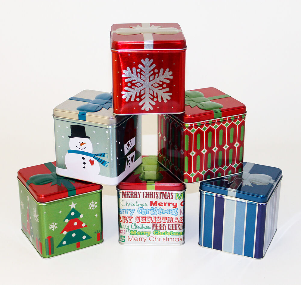 "Lot of 6 Christmas 4.25"" Cube Gift Box Tins #978907 for ..."
