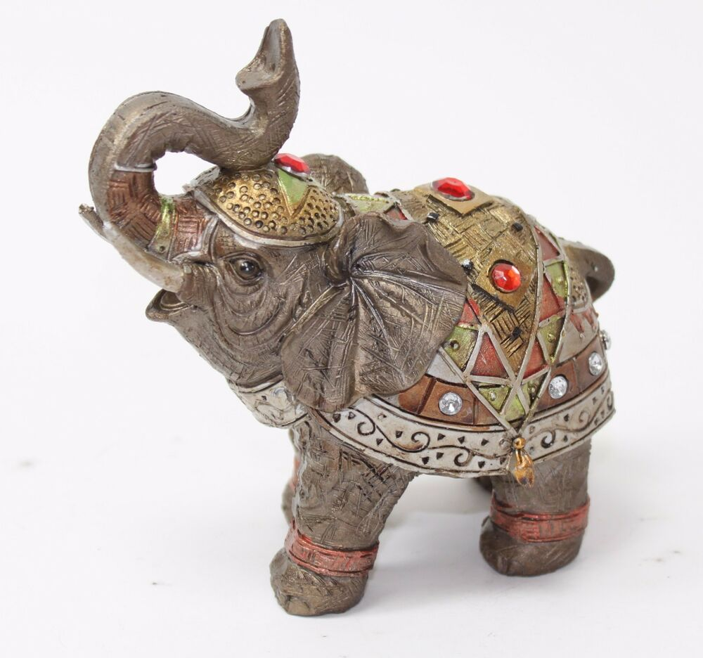 "Elephant Home Decor: Feng Shui 5"" Bronze Elephant Figurine Wealth Lucky"