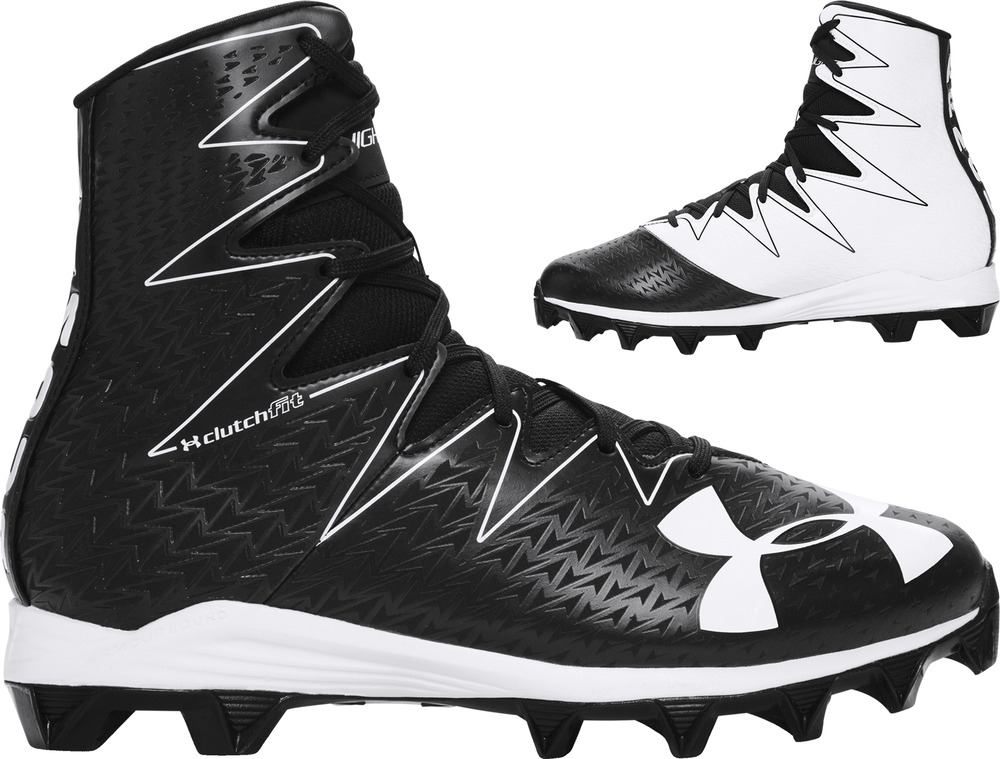 black and white under armour football cleats