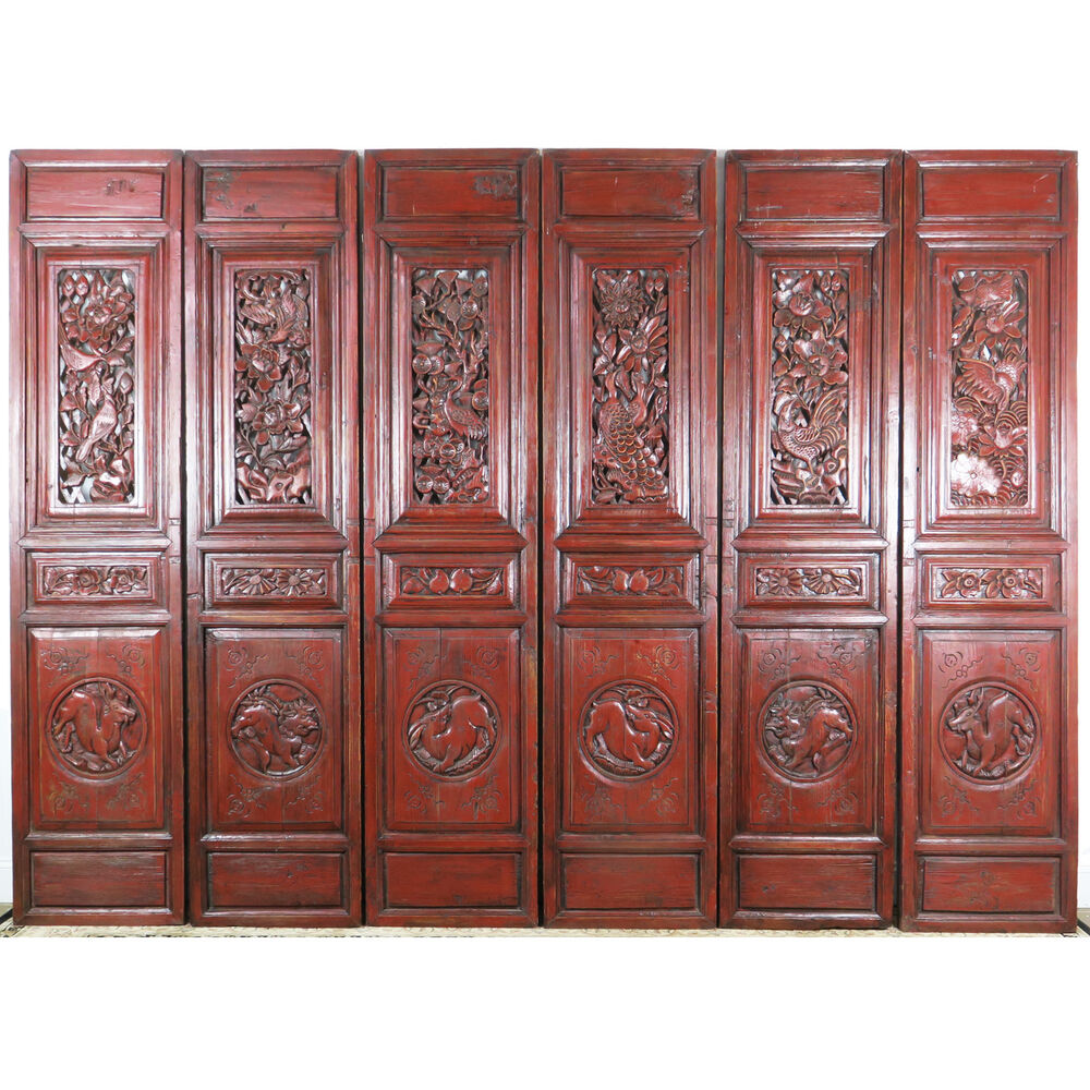 Antique Bed: Set Of 6 Carved Red Antique Chinese Asian Architectural