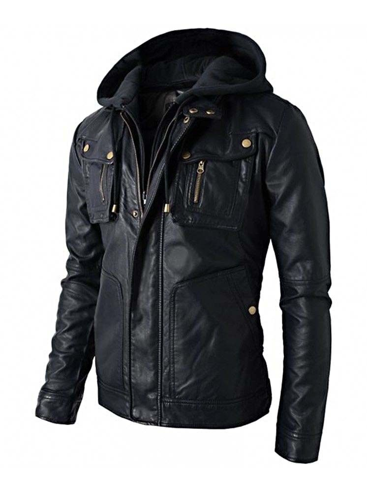 Mens Black Slimfit Handmade Motorcycle Biker Real Leather ...