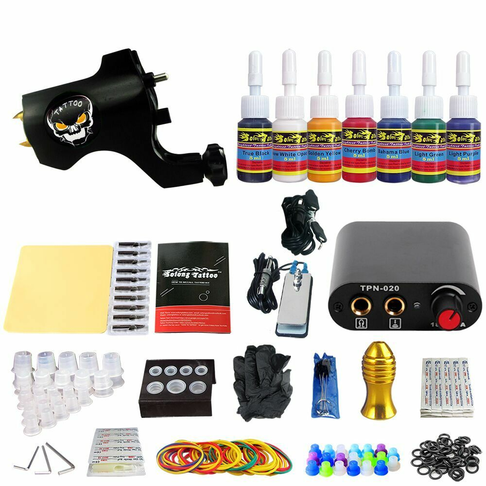 Complete tattoo kit 1 machine gun ink equipment needles for Tattoo supplies ebay