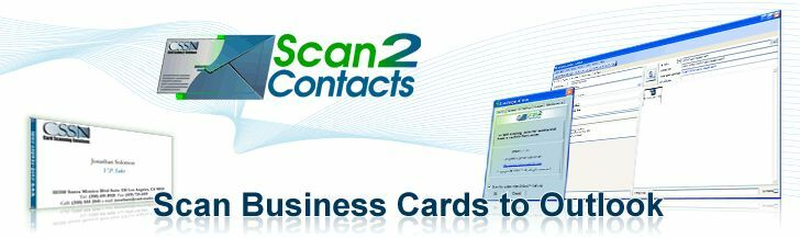 SCAN2CONTACTS SCAN BUSINESS CARDS INTO MS OUTLOOK