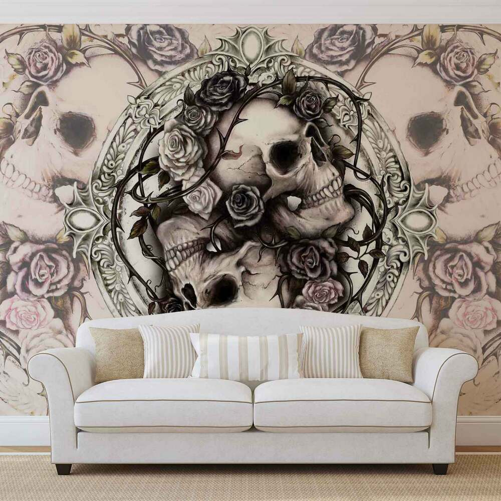 wall mural photo wallpaper xxl skull alchemy roses 977ws ebay. Black Bedroom Furniture Sets. Home Design Ideas