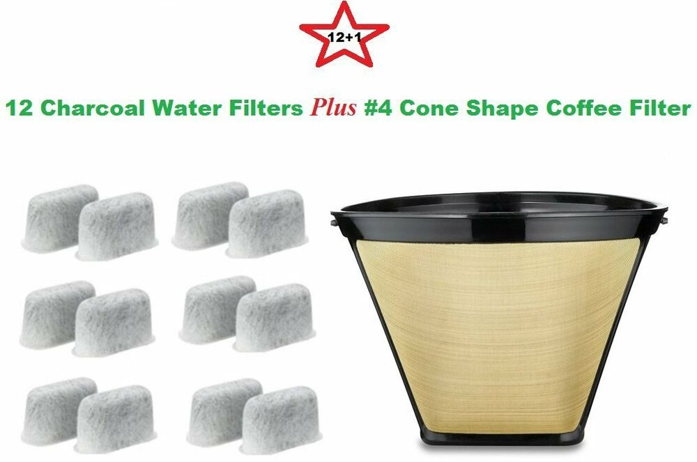 #4 Permanent Coffee Filter & 12 Water Filters for Cuisinart Coffeemakers eBay