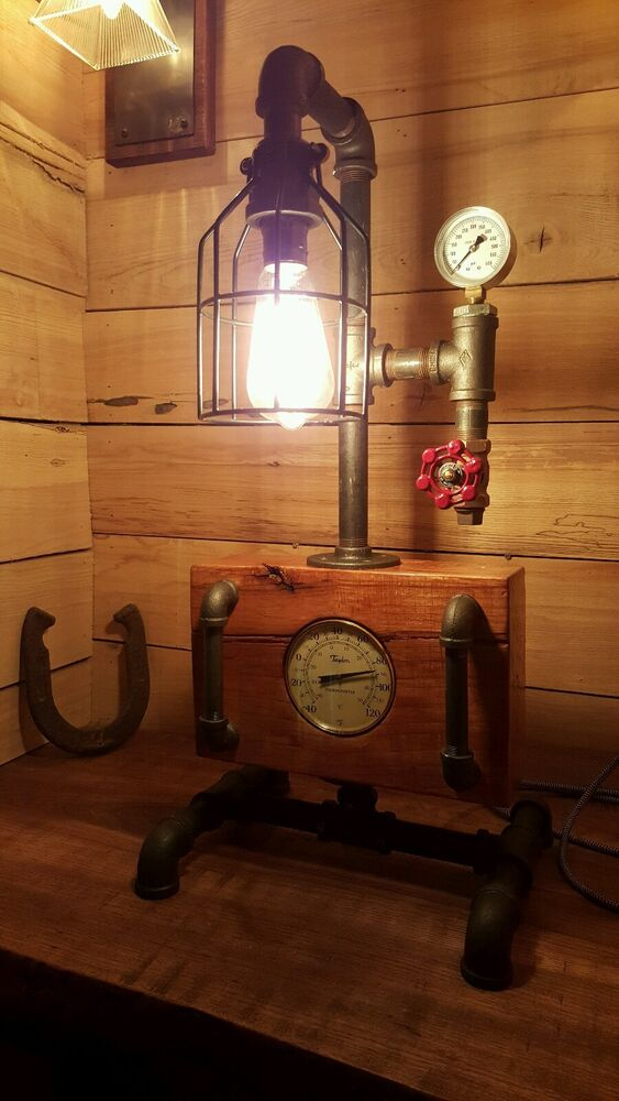 Mancave steampunk lamp vintage antique look w pressure gauge valve home decor ebay - Vintage looking home decor gallery ...