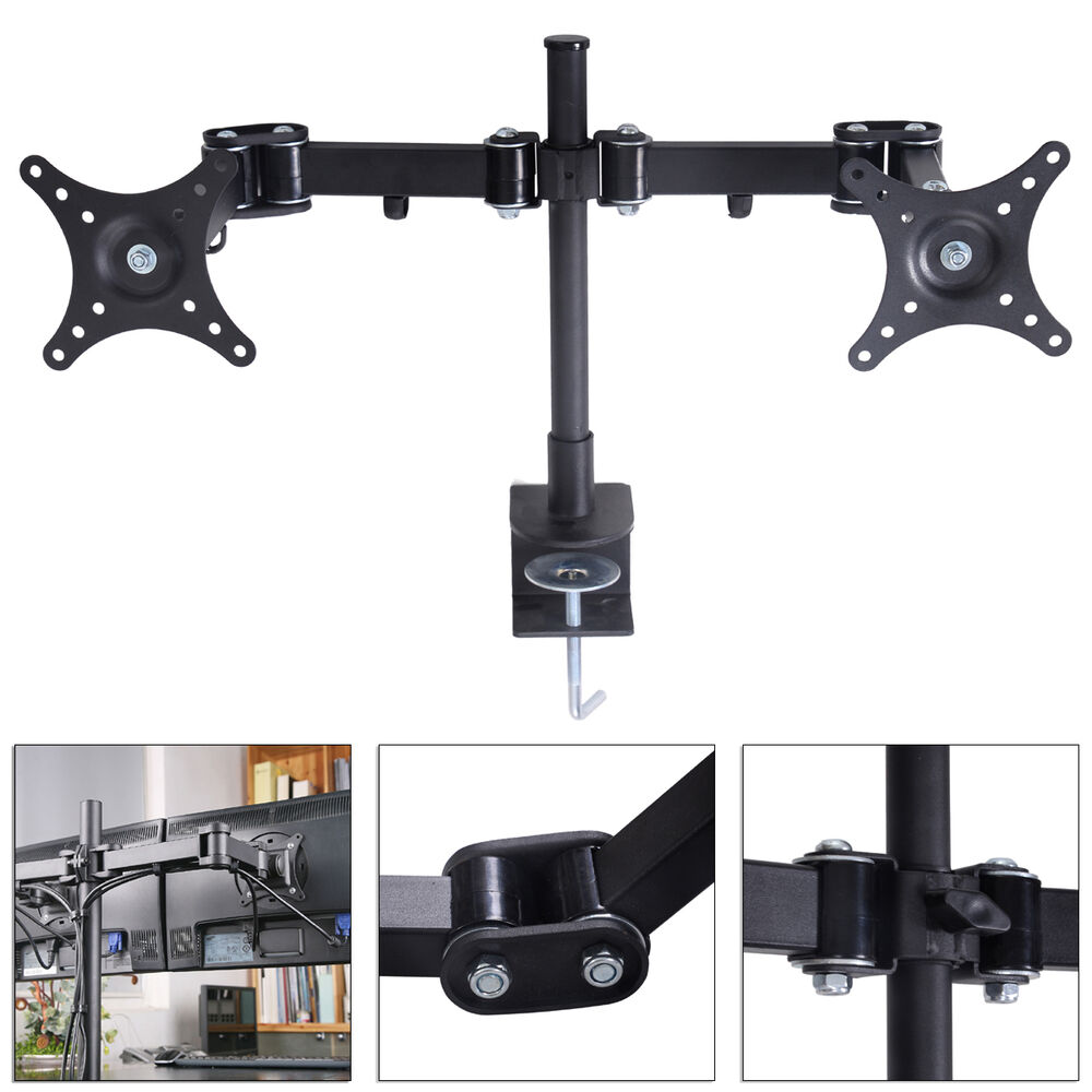 Dual Lcd Monitor Desk Stand Mount Free Standing Adjustable