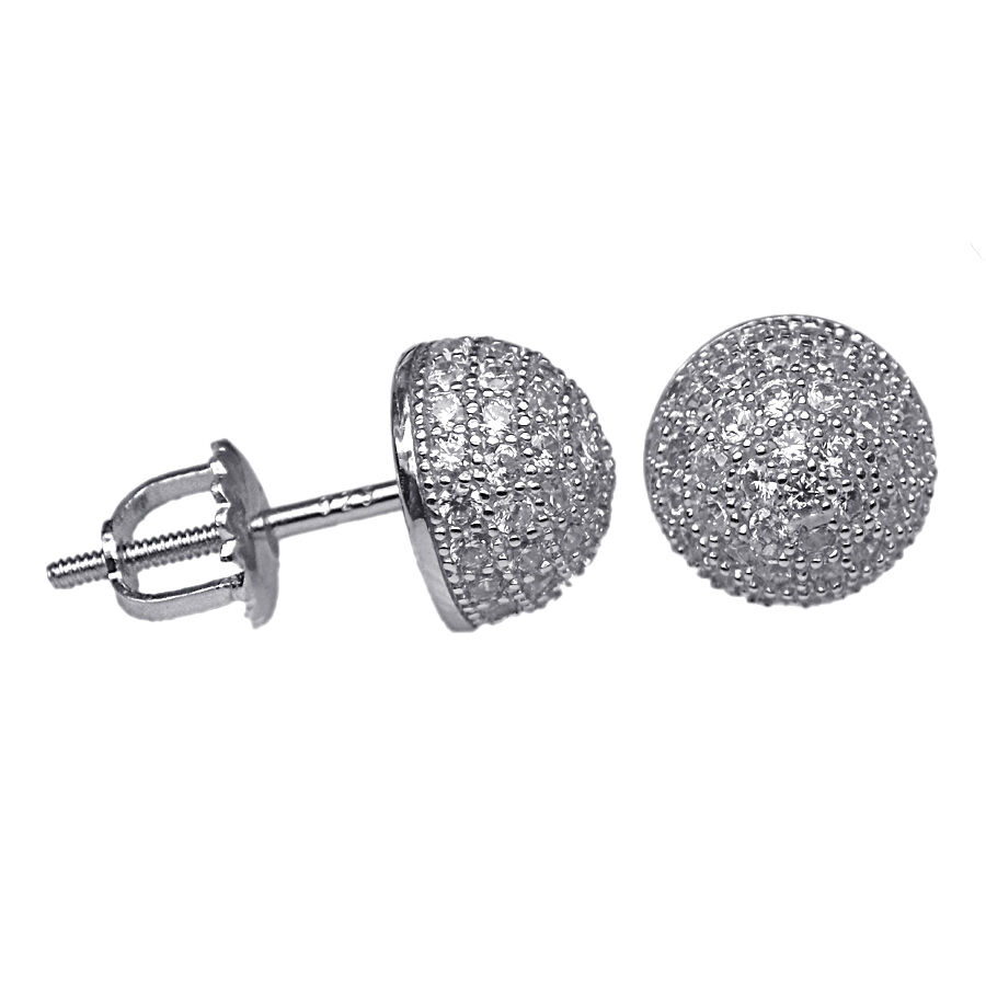 22396b646 Details about 8mm MICRO PAVE SET CUBIC ZIRCONIA HALF BALL STERLING SILVER  SCREW BACK EAR STUD