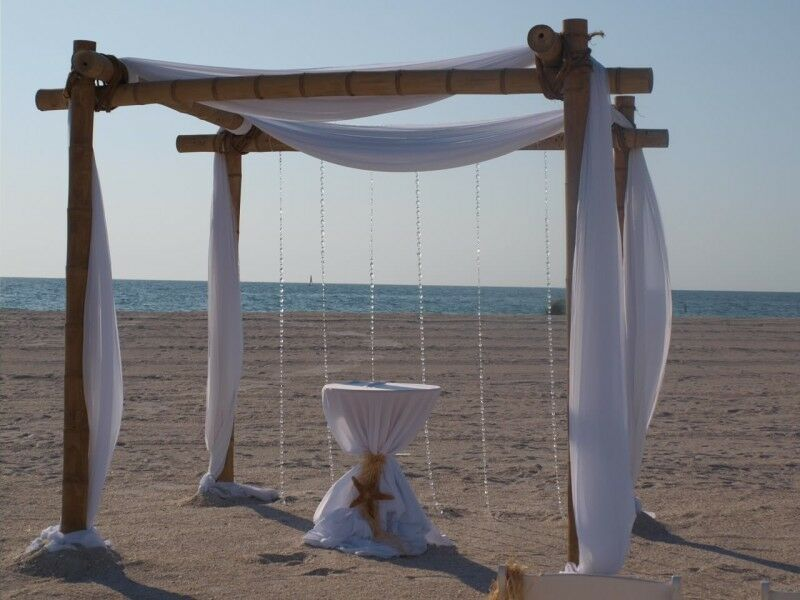 Beach Wedding Arch Ideas: Beach Wedding Bamboo Arch Chuppah Altar Decorations With