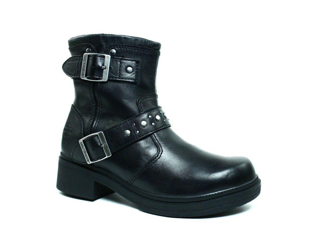 Harley Davidson Womens Motorcycle Riding Fashion Ankle Zip Black Leather Boot Ebay
