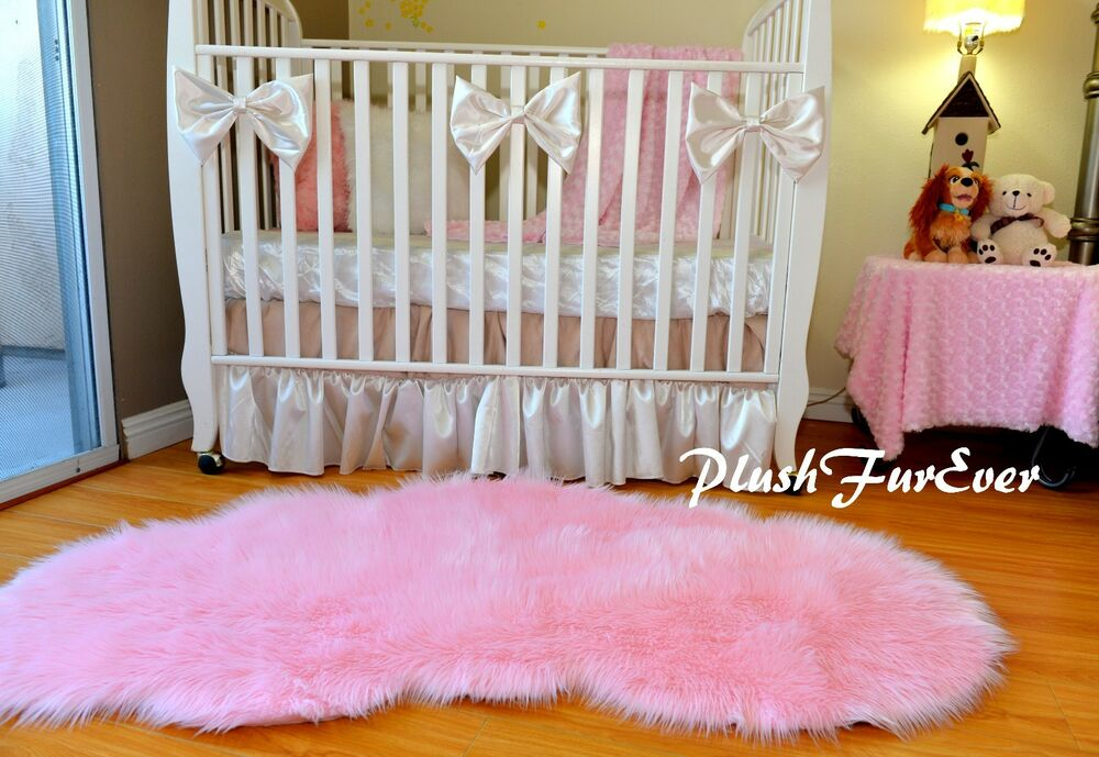 3 X 5 Baby Pink Cloud Cute Shaggy Faux Fur Rug Girl