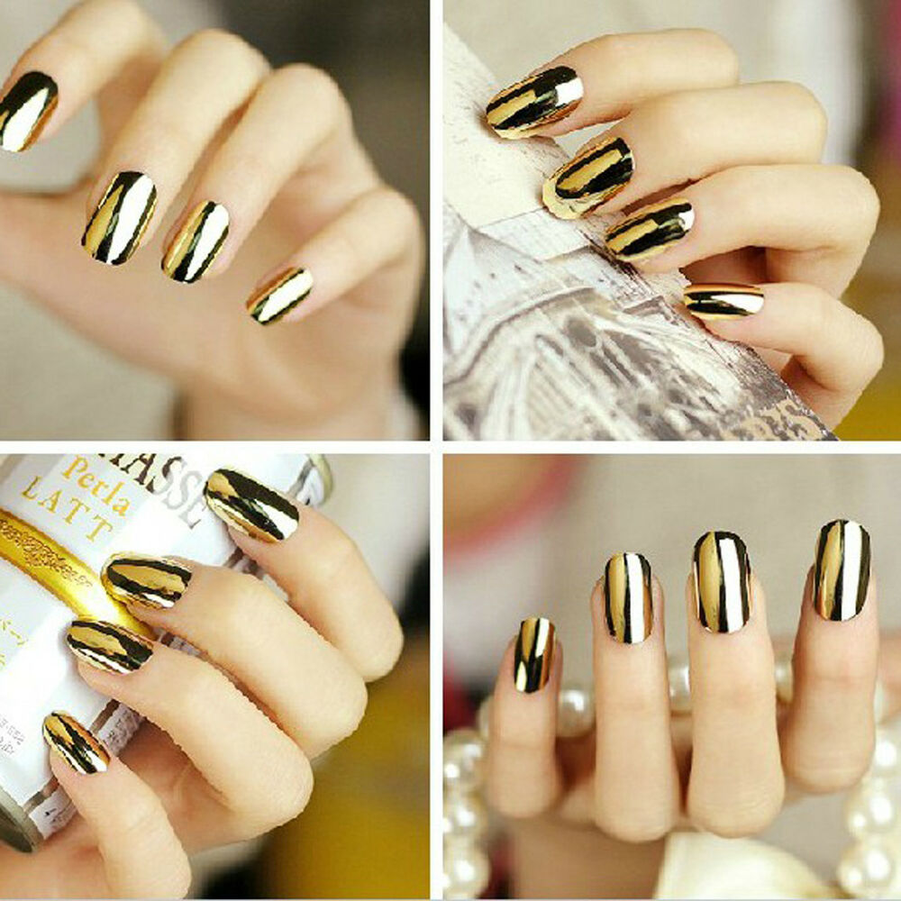 Finger Nail Art: Footful Beauty Nail Art Polish Golden Metallic Resin False