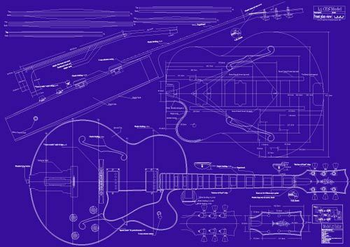 Gibson l5 ces jazz guitar decorative blueprint a0 size for Blueprint sizes