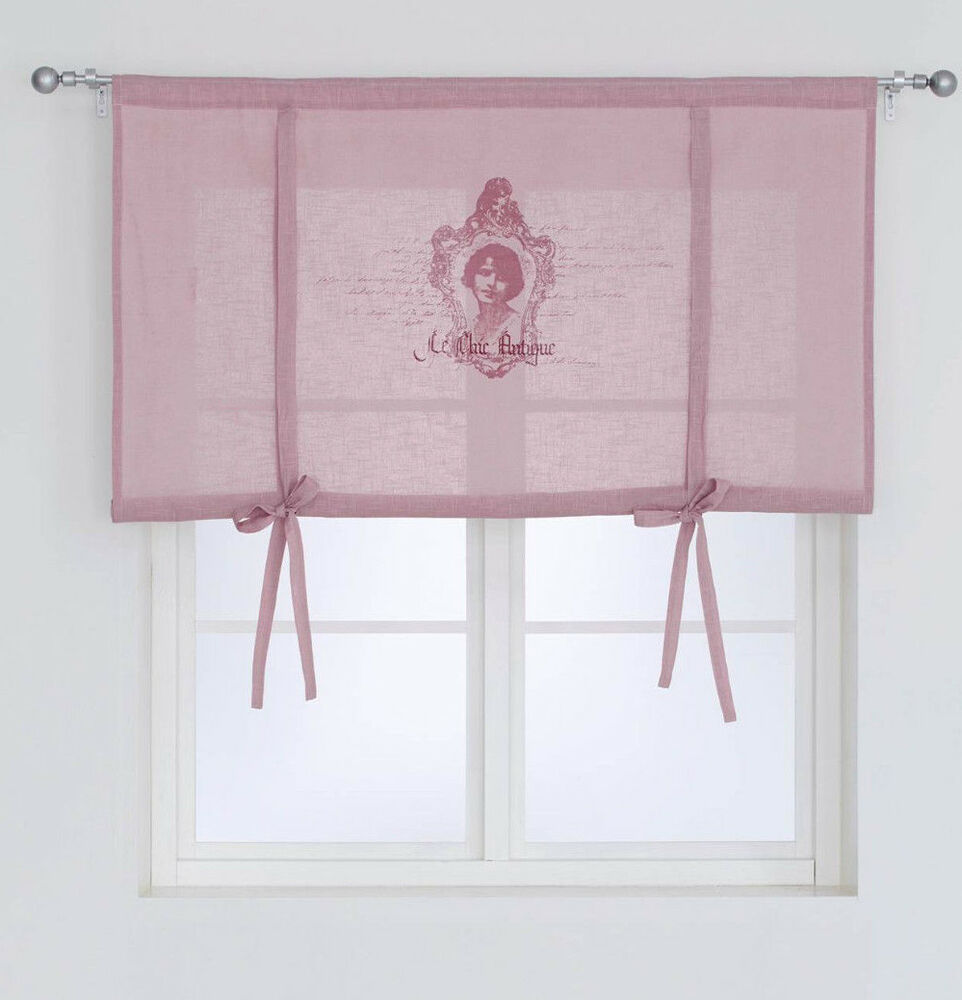 antik vorhang 140x120 raffrollo raffgardine shabby gardine landhaus curtain rosa ebay. Black Bedroom Furniture Sets. Home Design Ideas