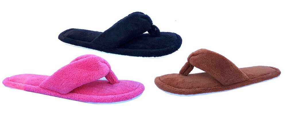 f3bc7fb5d23 Details about New Ladies  Fashion Terry Spa Thong Flip Flop House Slipper  Comfort--