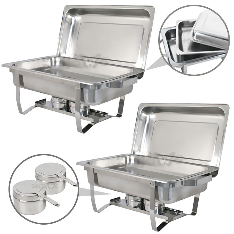 chafing dish set of 2 of 8 quart stainless steel tray buffet catering warming ebay. Black Bedroom Furniture Sets. Home Design Ideas