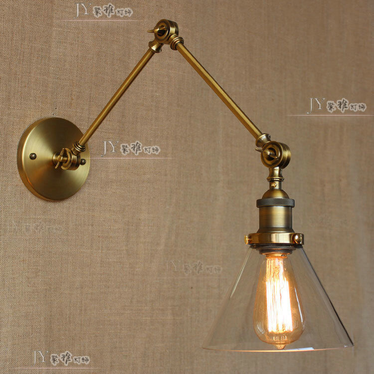 double sconce swing arm wall lamp antique brass glass light ebay. Black Bedroom Furniture Sets. Home Design Ideas