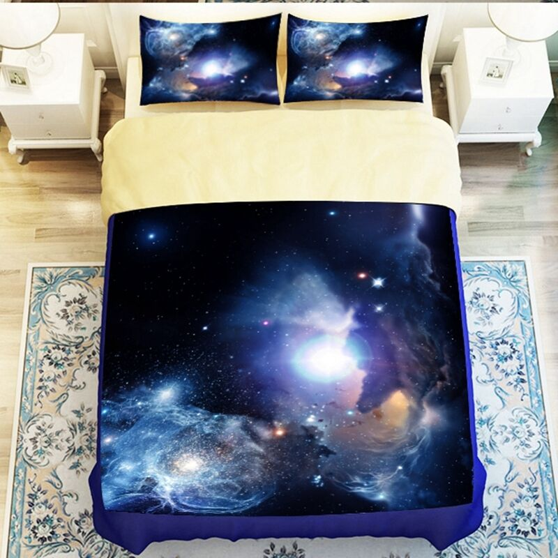 Universe outer space themed galaxy bedding sets 3d for Outer space quilt