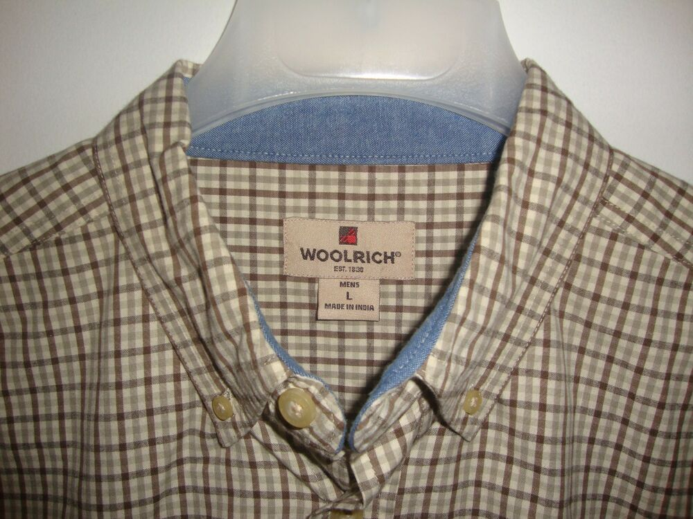 5cf5a39a1 Details about Woolrich Men s Large Shirt Beige Brown Tattersall Plaid  Oxford Collar Cotton
