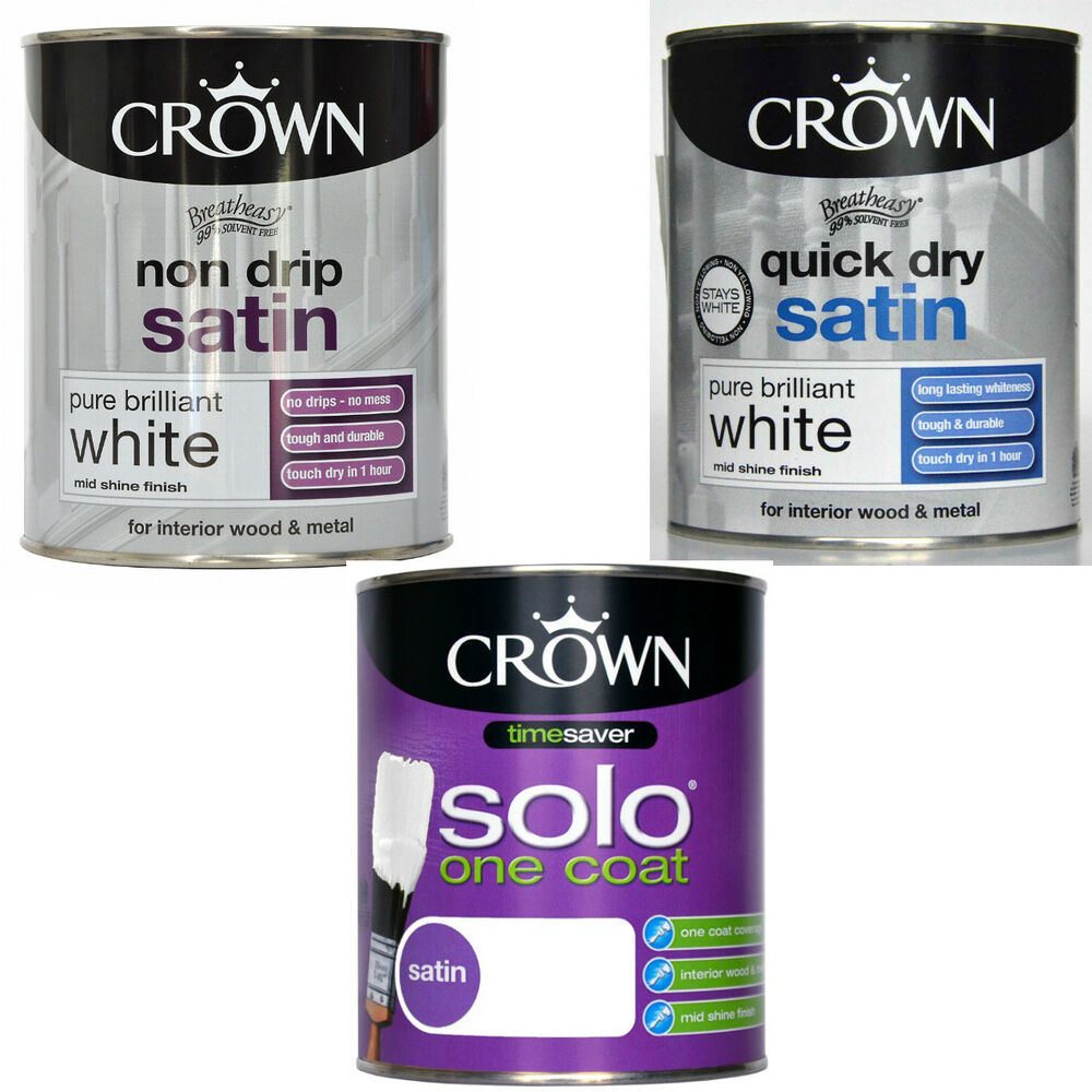 Crown non drip solo one coat quick dry satin pure for One coat white paint