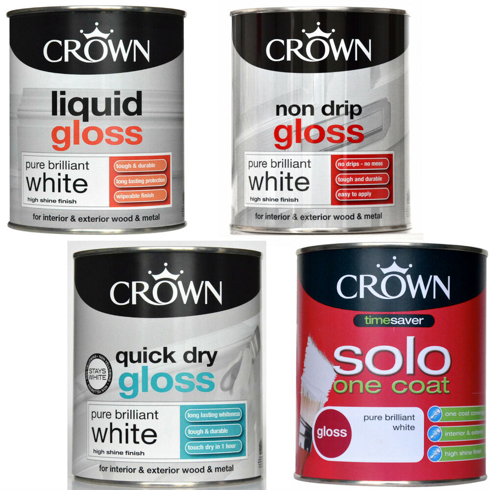 Crown liquid non drip solo one coat quick dry gloss pure for One coat white paint