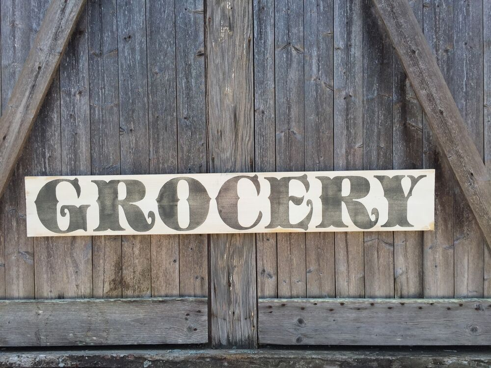 "Large Rustic Wood Sign  ""grocery"" 4 Feet Fixer Upper. Right Signs. Breathing Signs. Stomach Cancer Signs. Sports Park Signs. Happy Family Signs Of Stroke. Powder Puff Football Signs. Pleural Effusion Signs Of Stroke. Lymphoma Signs"
