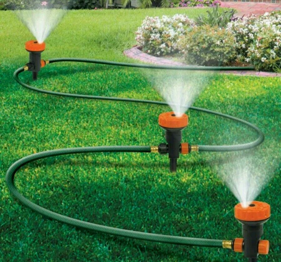 portable lawn sprinkler system 3 heads 5 settings garden watering free shippin ebay. Black Bedroom Furniture Sets. Home Design Ideas